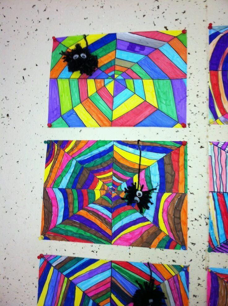 #knutselen, kinderen, basisschool, herfst, Halloween, tekenen, kleur, gekleurd spinnenweb, alleen foto, #craft, childeren, elementary school, drawing, colour, spiderweb, art (only photo)