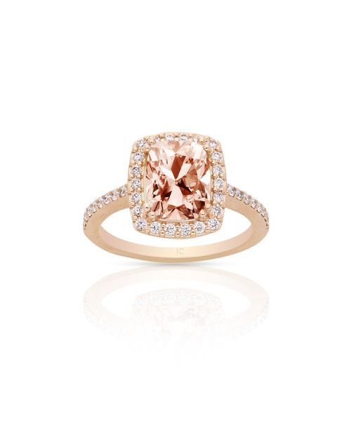 Amber Solitaire engagement ring featuring a 1.80ct cushion cut morganite main stone, mastercrafted in 18ct rose gold (750) and set with diamonds. www.jennaclifford.com