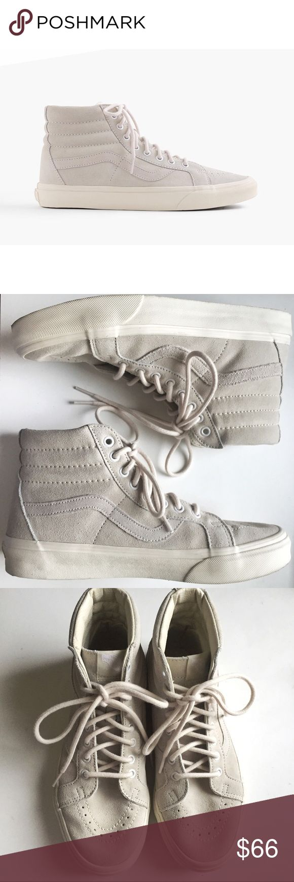 Vans x J.Crew beige suede Sk8-Hi shoes Rare suede Vans from their collaboration with J. Crew. Impossible to find online or in stores! I purchased these at a J.Crew sample sale a few months ago. Would best fit someone who wears a 9.5 or 10. Only worn twice, the suede and leather are in excellent condition. There is slight discoloration on the logo on the tongue (last photo).   US women's size 9.5, US men's size 8, EU size 40.5  📦 Fast shipping: same or next day shipping! 🛍 15% off on…