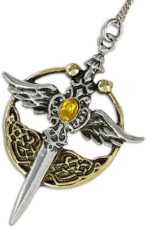 St Michael Relic Pendant - The wings and sword of St Michael are enclosed in the circular torc, favoured personal adornment of Albion's great warriors.