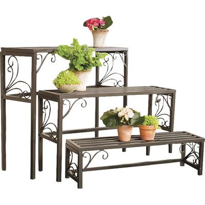 Plow & Hearth 3 Piece Rectangle Plant Stand Set