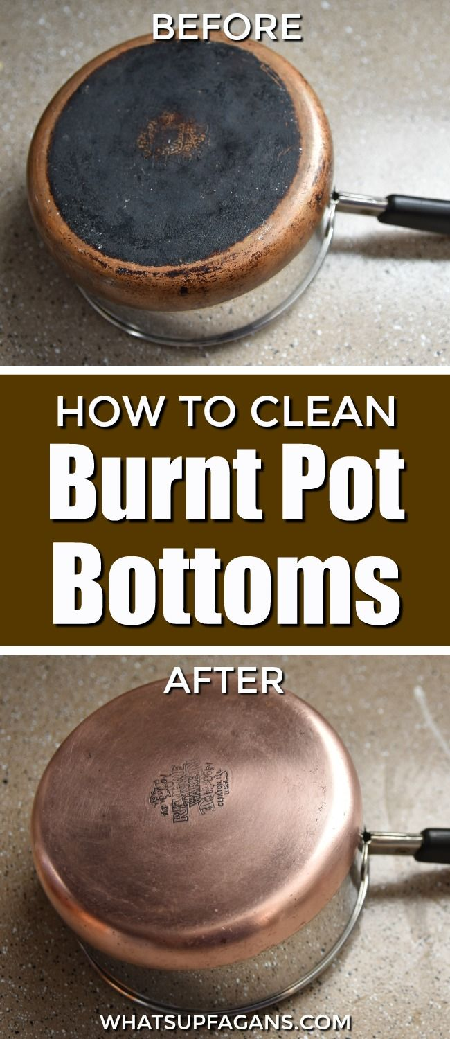 Need to know how to clean a burnt pot bottom? Here's an effective way to remove the black stuck on burnt gunk off the bottom of your pot.