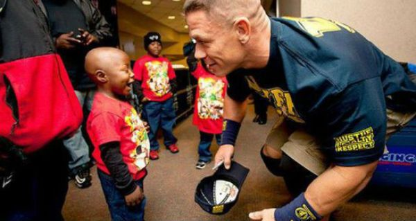 30 Pictures of John Cena Make-A-Wish awesomeness! WWF Wrestler John Cena holds the record for most Make-A-Wish wishes granted. Here's a just a small sample of the joy he is able to bring some of these kids.