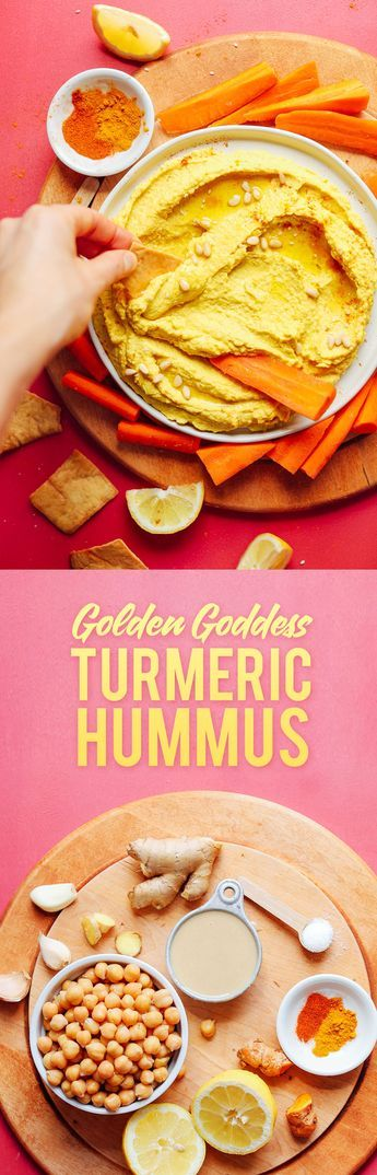 GOLDEN Goddess Hummus! Turmeric, ginger, garlic, chickpeas! 30 minutes, SO delicious #vegan #glutenfree #plantbased #hummus #recipe #minimalistbaker