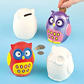 Funky owl shaped money banks to colour in