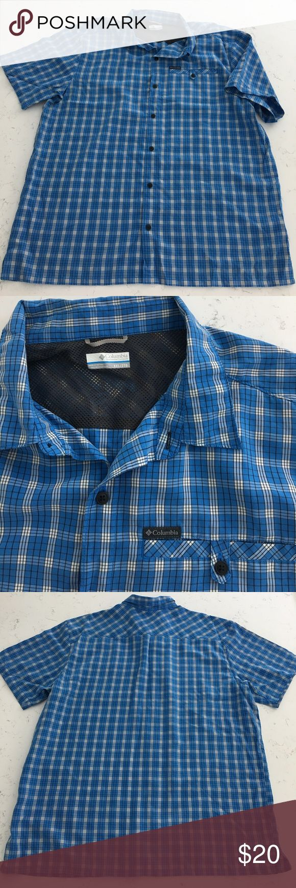 Men's Columbia Sportswear blue plaid shirt XXL Used like new. Really nice Columbia Sportswear Men's blue plaid button down short sleeve shirt. XXL This is not a cotton shirt! Its polyester.  Reasonable offers considered! Columbia Shirts Casual Button Down Shirts