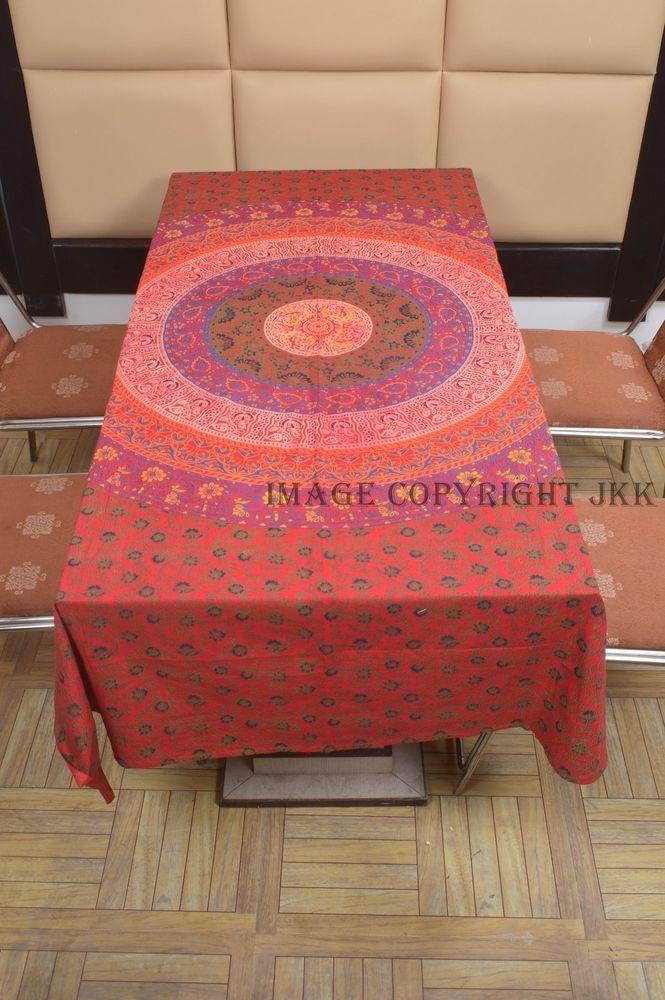 Indian Table Cover Red Multicolored Mandala Printed Dinning Table Cloth IWUS