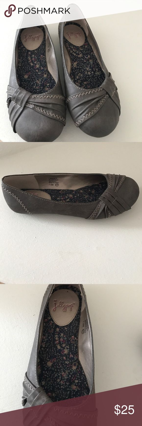 Flats by Jellypop Steel grey dress flats. Worn once. Size 7.5. Very cute! Does not fit me :( Jellypop Shoes Flats & Loafers