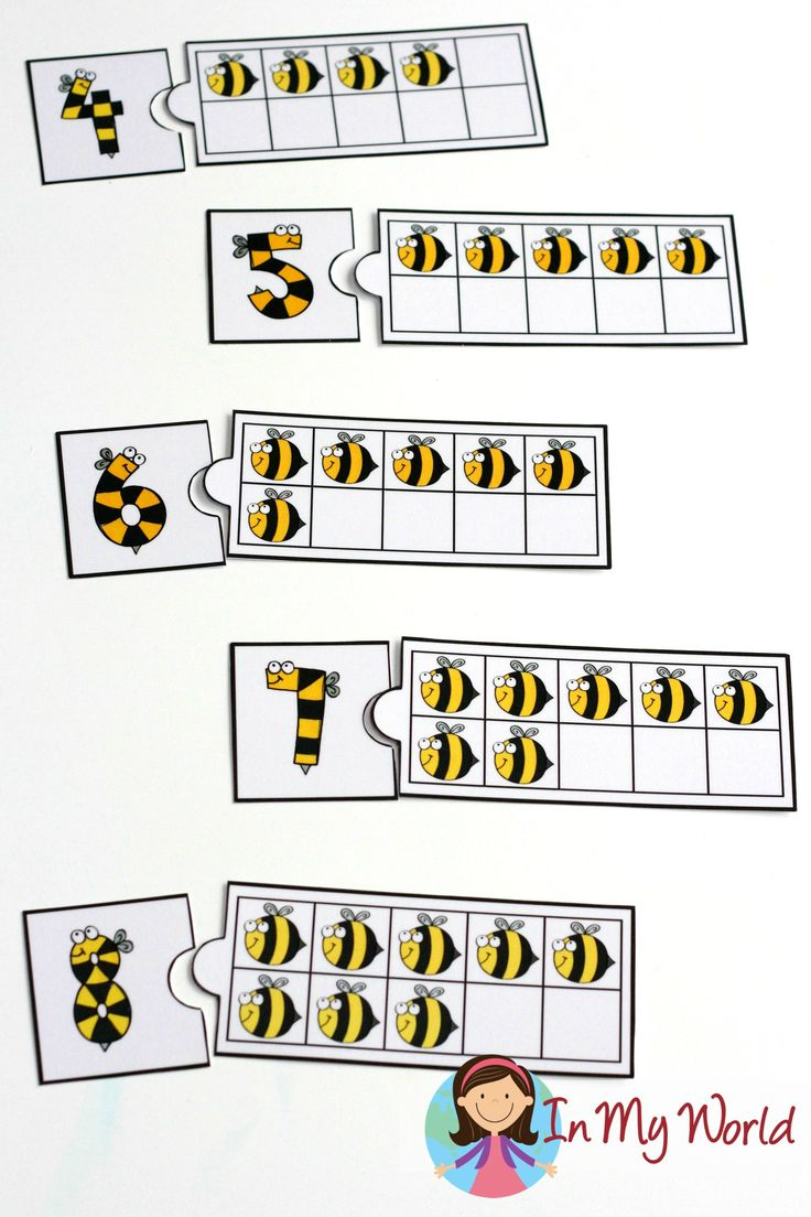 Spring Preschool Centers: bee numbers and ten frame puzzles.