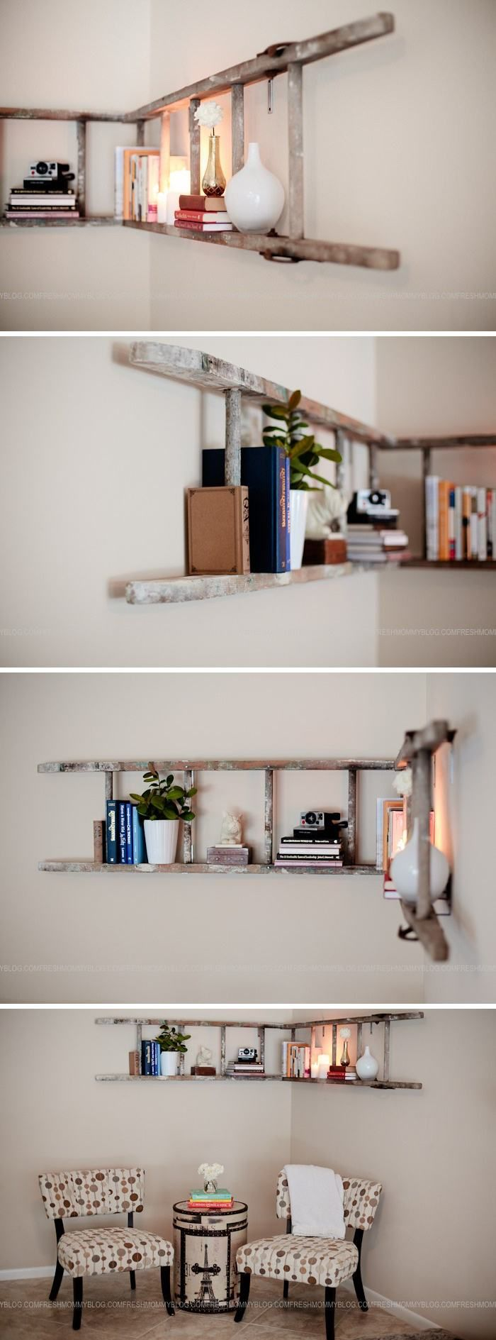 DIY Corner Ladder Bookshelf / This easy and clever bookshelf look so much cooler than anything you can buy from a store.