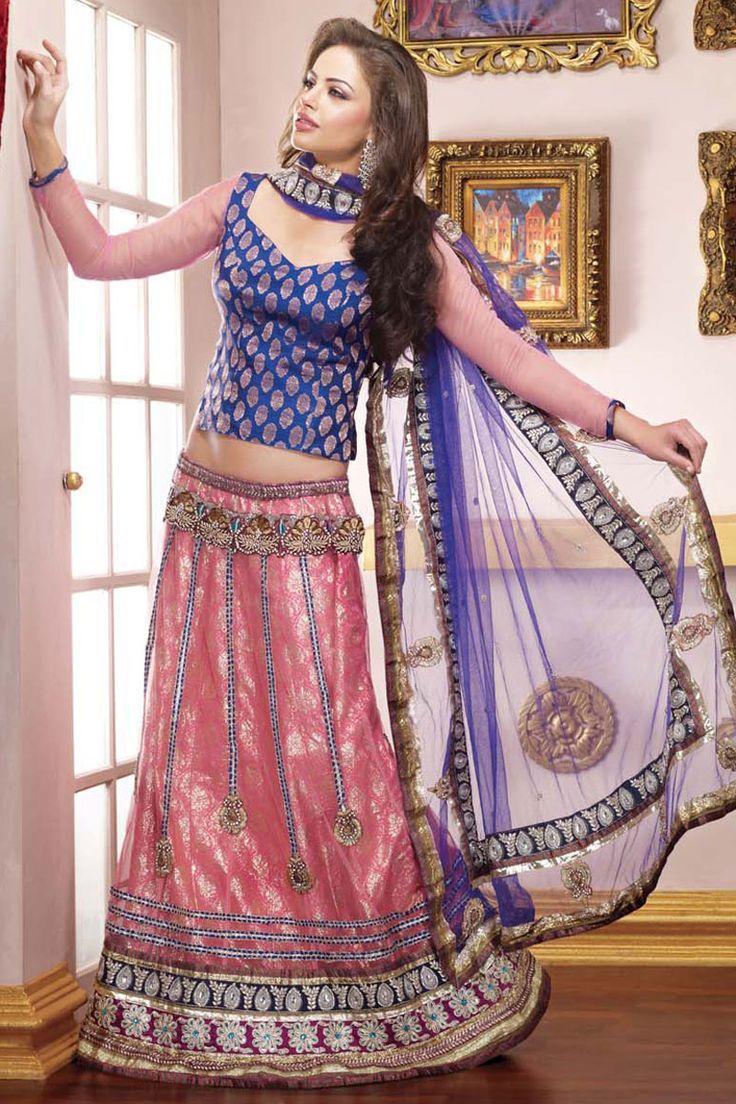 Trend Of Blue Color Ethnic Lehegna Choli 2015 For brides