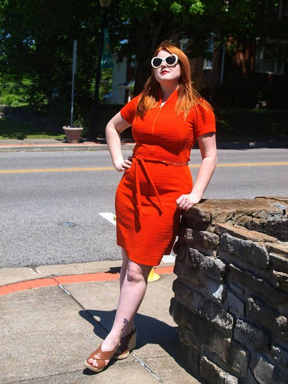Check out this item in my Etsy shop https://www.etsy.com/listing/539487553/orange-vintage-dress-textured-fabric