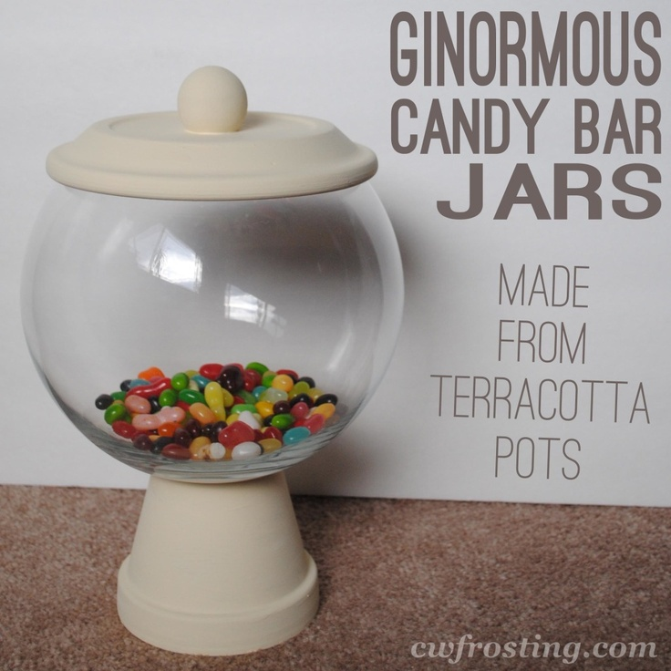 budget DIY candy bar jar made from terra cotta pot