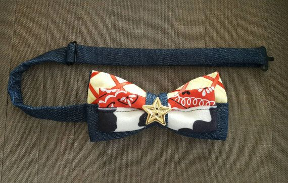 Have a little boy or hubby youd like to match with? Need something unique for dapper day or virtually any event? This fun Disney inspired Sheriff Woody bow tie is great for trips to the Disney Parks, as a gift, or to spoil yourself. Perfect for any age. Everyone deserves a little Disney magic!  I love to take custom orders! If you dont see what you are looking for, please ask! I would love to create something special for you! If you have any questions, please feel free to message me here or…