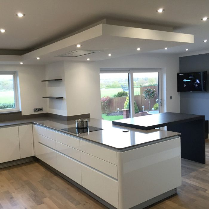 White gloss next 125 kitchen gris expo silestone worktops with dekton sirus table