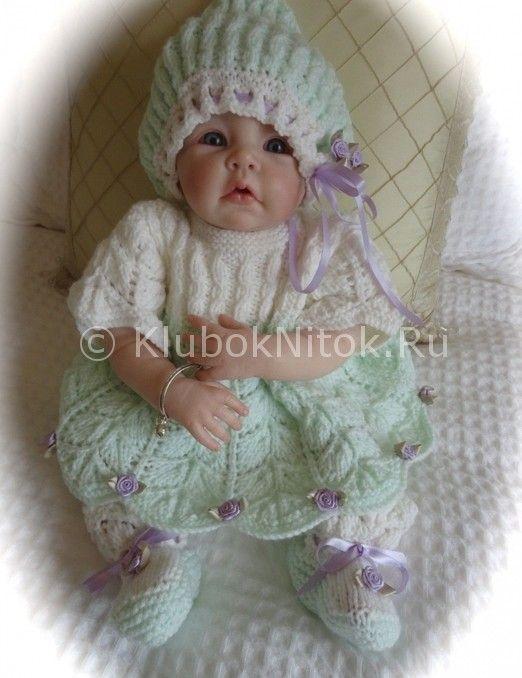 Платье с листиками   Вязание для девочек   Вязание спицами и крючком. Схемы вязания.: