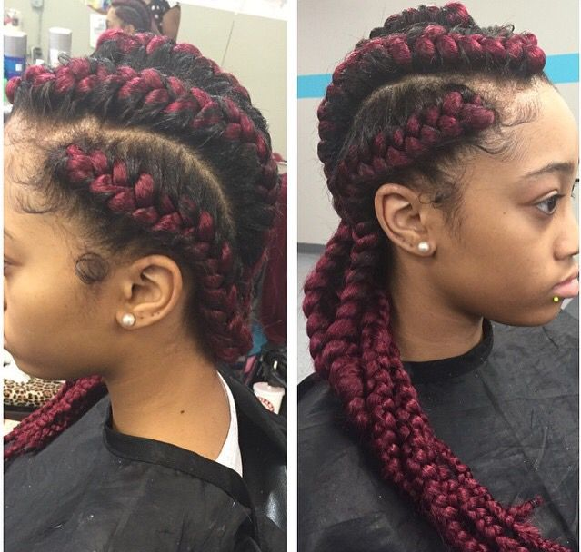 Red Cornrow Braids With Weave