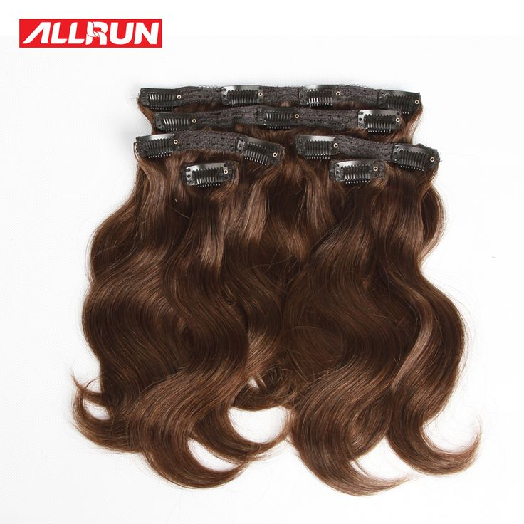 Clip Ins Body Wave Hair 6pcs/ 112g  #2 Brown Clip In Hair Extensions Human Hair Extension Cheveux Naturel a Clip Cheveux Humain