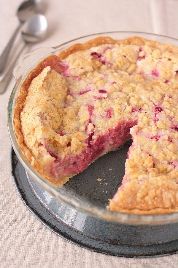 Deep-dish, beautifully hued Rhubarb Raspberry Sour Cream Pie. #pie #rhubarb #raspberry #fruit #dessert #food #baking #summer