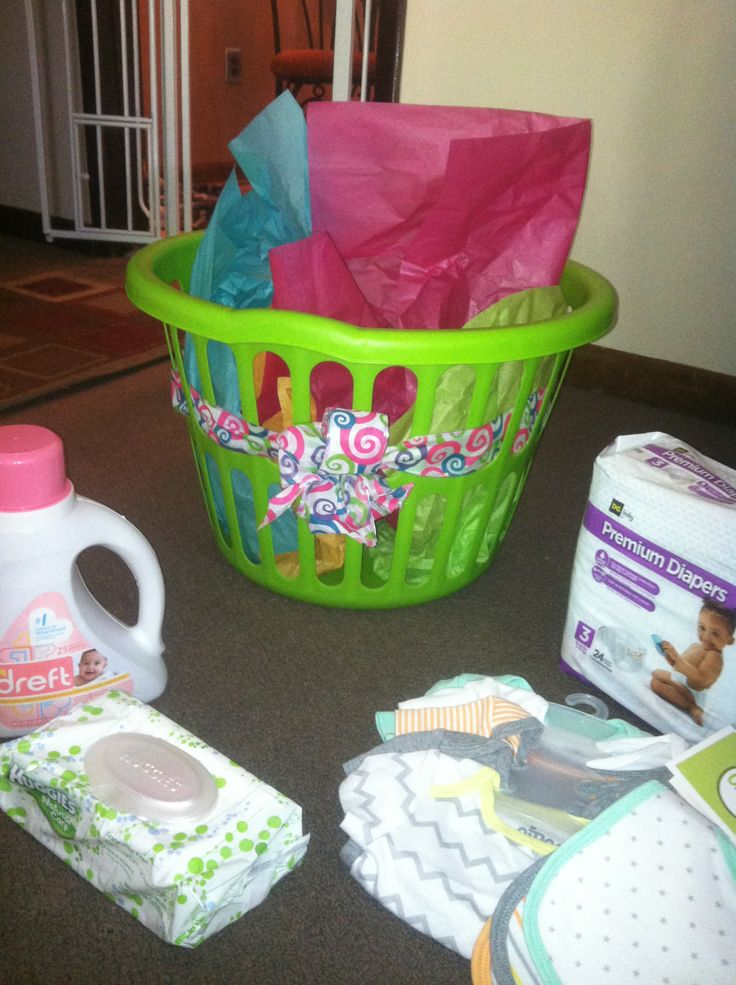 Dollar General Baby Shower Gift Laundry Basket Filled With