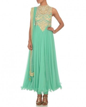 Mint Green Anarkali Suit with Gota Patti