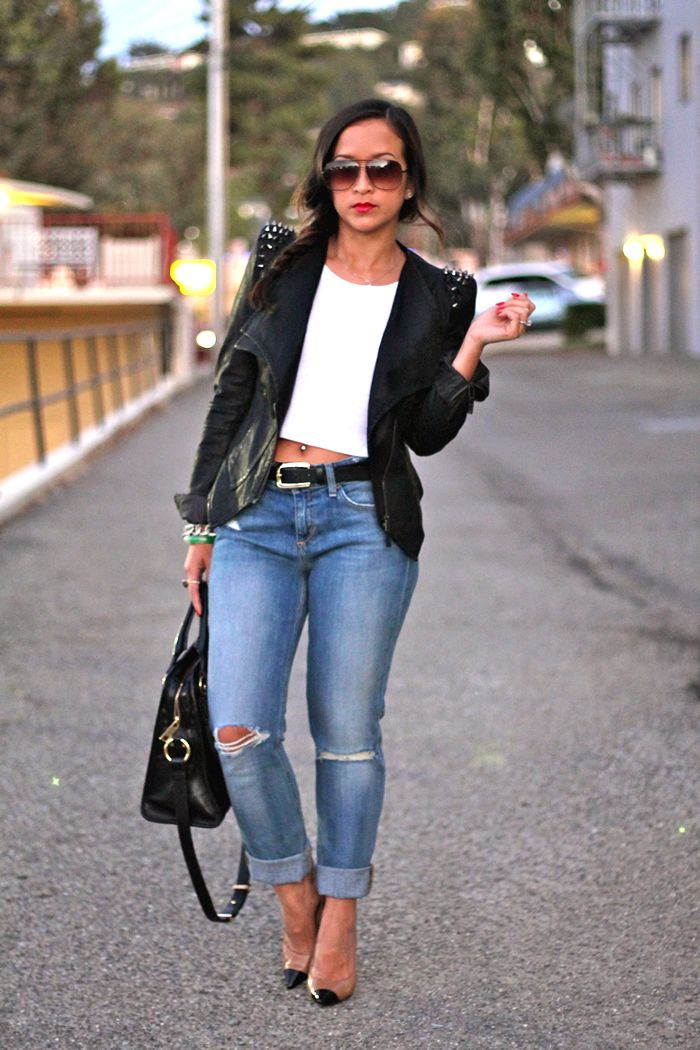 studded leather jacket and ripped jeans: Distressed Jeans, Studs Leather Jackets, Ripped Jeans, Joe Jeans, Studded Leather Jacket, Studs Jackets, Neutral Heels, Heels Ripped, Style Fashion