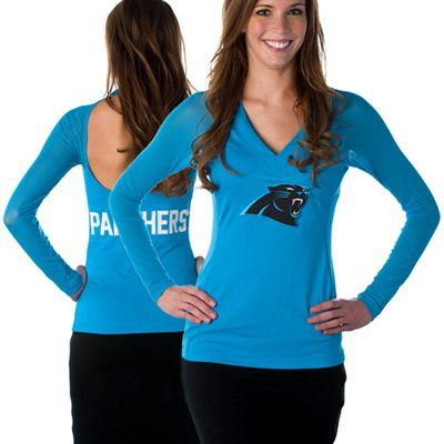 bb93c1c08 ... Blown Coverage Halter Top All Sport Couture Carolina Panthers Ladies  Fashion Long Sleeve V-Neck Halter Top - Panther ...