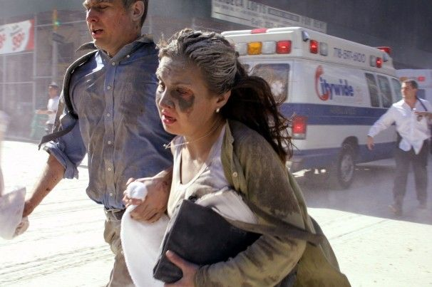 People flee the scene near the World Trade Center.