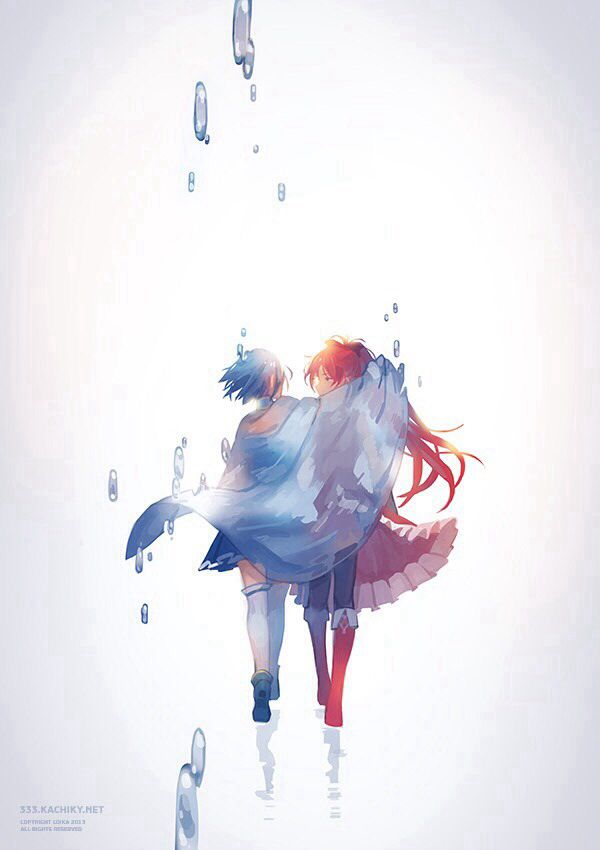 """I had a long and horrible dream — a dream in which you died."" Sayaka & Kyoko 