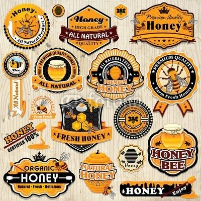 Vecteur : Vintage frame with Honey label set template