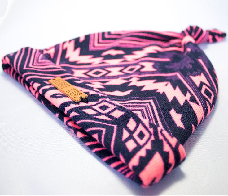 Baby Knot Hat Pink/Black Tribal Print H1001 by KorkeKids on Etsy