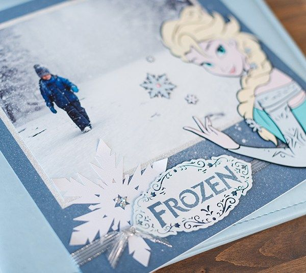 Disney Frozen Elsa scrapbook page layout. Make It Now with the Cricut Explore machine in Cricut Design Space.