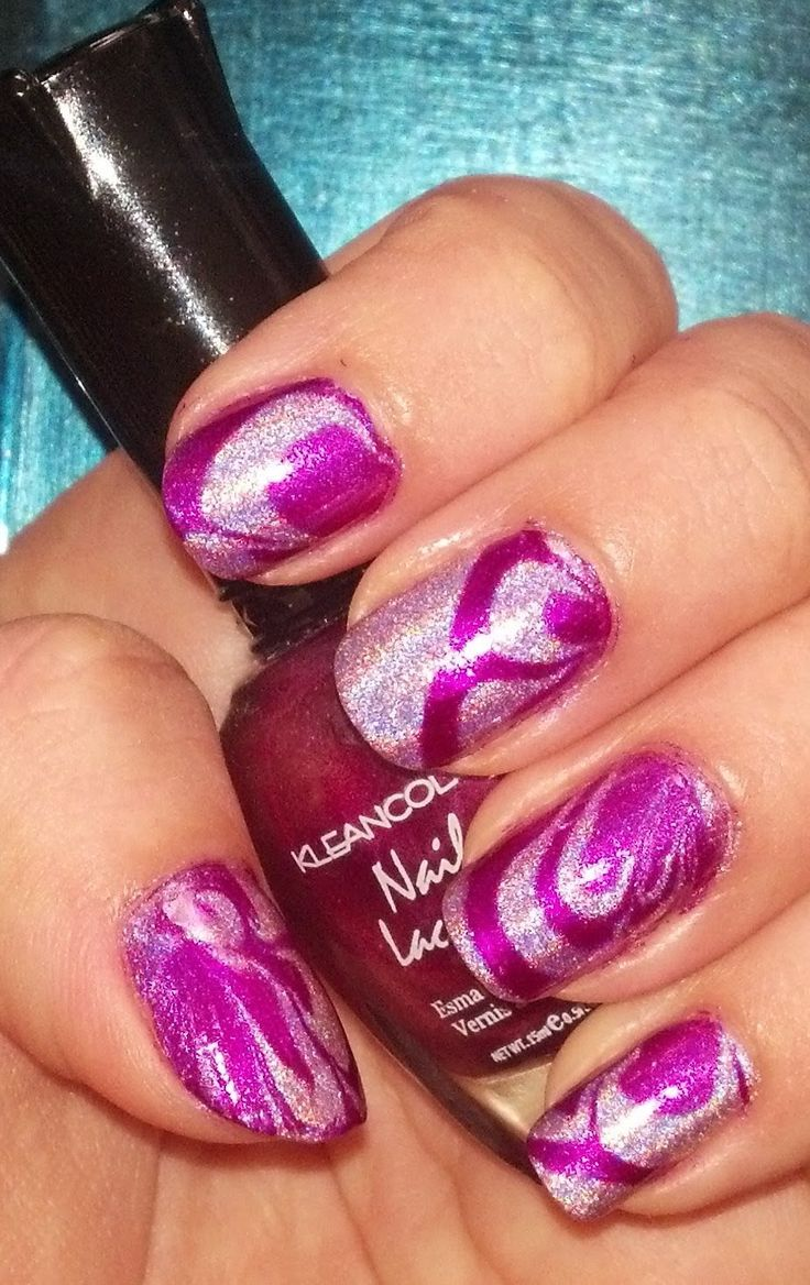 647 best nail art water marble images on pinterest marbles the sparkle queen water marble nail art in fuchsia holographic video tutorial prinsesfo Choice Image