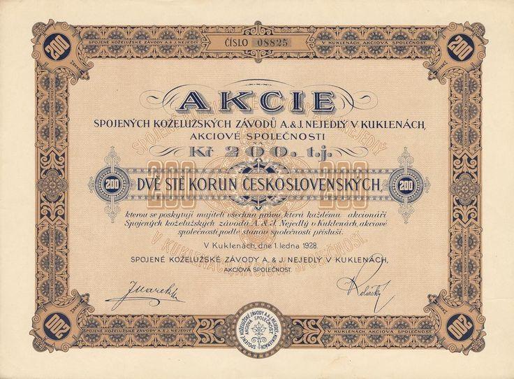 Spojené koželužské závody A. & J. Nejedlý v Kuklenách akc. spol. (Vereinigte Lederverke A. u. J. Nejedly in Kuklena AG). Akcie na 200 Kč. Kukleny, 1928.