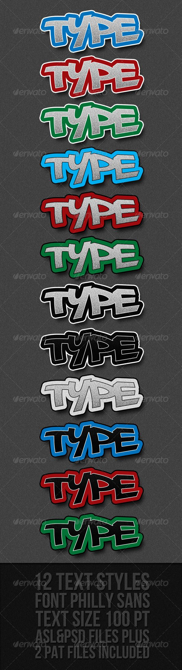 Graffiti Text Styles #GraphicRiver GRAFFITI TEXT STYLES 12 text styles Asl file with 12 text styles 12 psd layered files Pat file with 2 patterns also included Size 100 pt Font is Philly Sans, which is free and can be downloaded here .dafont /philly-sans.font Created: 19June11 Add-onFilesIncluded: LayeredPSD #PhotoshopPAT #PhotoshopASL MinimumAdobeCSVersion: CS3 Tags: aslfile #black #blue #colored #embossed #graffiti #gray #green #layerstyles #photoshopstyles #red #stroke #texteffect…