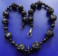 antique Victorian WHITBY JET fancy flower carved bead necklace clip clasp -D420