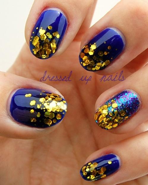 cute use of glitter: Nails Trends, Gold Glitter, Nails Art, Gold Nails, Cobalt Blue, Royals Blue, Glitter Nails, Sparkle Nails, Blue Nails