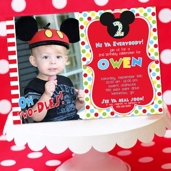 Mickey Mouse Invitation with Photo Thank You by AmandasPartiesToGo, $14.00