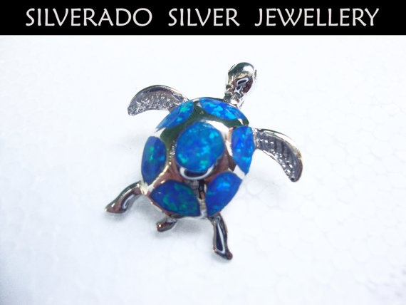 Sterling Silver 925 Man Made Opal Turtle by SilveradoJewellery, €48.00