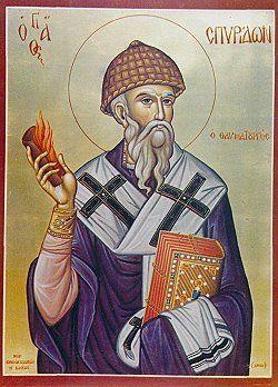 Ο άγιος Σπυρίδων ο θαυματουργός.Εορτάζει στις 12 Δεκεμβρίου εκάστου έτους.
