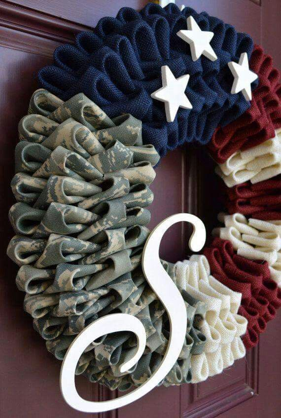 Military wreath.  Going to make one before Sunshine gets home. Need help finding Marine camo fabric. Old rippped uniform perhaps ?