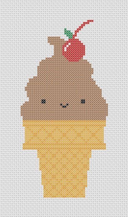 Chocolate Ice Cream Cone with Cherry