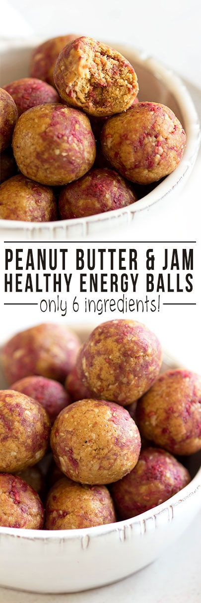 6-Ingredient Peanut Butter and Jam Energy Bites   Quick healthy snack that is low in sugar and can be made in advance as part of a weekly food prep! @teffyperk