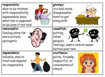 Many students lack the vocabulary necessary to be able to adequately DESCRIBE CHARACTERS. Use these definition cards to scaffold students' ability to describe characters and internalize new vocabulary.   Use in guided reading,whole group, bulletin boards, create character word learning packets, independent reading, and use in lit stations.   48 character trait definition cards w colorful clip art, ppt for each word (can print for class display), and a packet of vocab/reading activities...