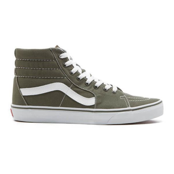 Vans Men's Sk8-Hi Canvas Hi-Top Trainers - Grape Leaf ($69) ❤ liked on Polyvore featuring men's fashion, men's shoes, men's sneakers, green, mens lace up shoes, mens canvas sneakers, mens hi tops, mens high top shoes and mens sneakers