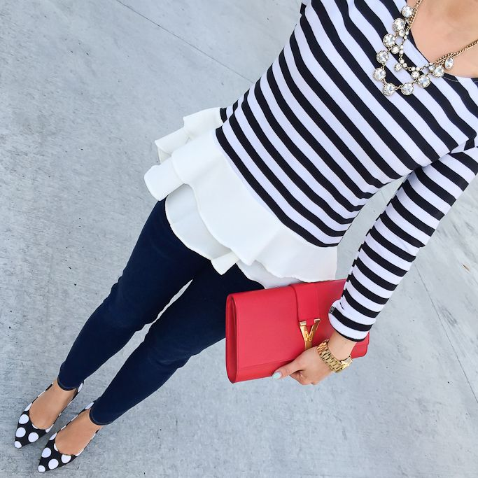 Nautical and fun stripes always go well with a bright accessory!