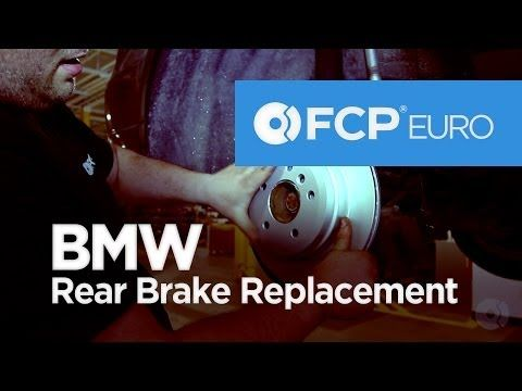 ▶ BMW E90 Rear Brake Replacement (328i Pads, Rotors, Sensors) FCP Euro - YouTube