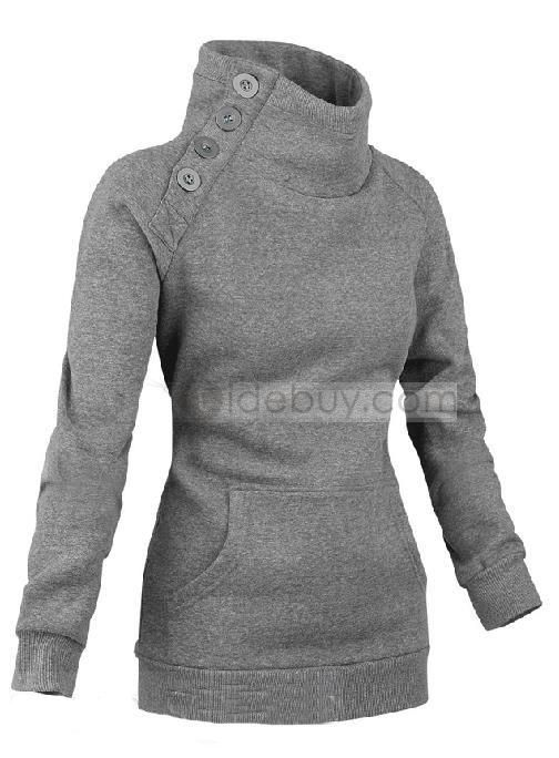 New Arrival Casual Slim Pure Color Turtle Collar High Quality Cotton Hoodie : Tidebuy.com