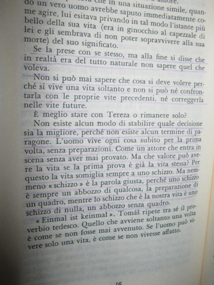 L'insostenibile leggerezza dell'essere. Milan Kundera.