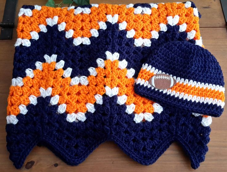 Baby blanket, toddler blanket, ripple, chevron, Denver Broncos colors, Chicago Bears, blue and orange, baby shower gift FAST SHIPPING auburn by DonnasPinsandNeedles on Etsy https://www.etsy.com/listing/472082865/baby-blanket-toddler-blanket-ripple